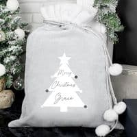 Personalised Christmas Tree Luxury Silver Grey Pom Pom Christmas Sack - Ideal for the delivery of gifts and presents on Xmas Eve